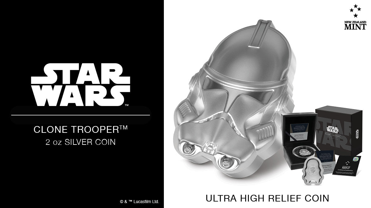 This 2oz pure silver collectible coin replicates the helmet of the highly efficient Clone TrooperTM in perfect detail. This unique coin follows the outline shape of the variant helmet rather than being a traditional round. Learn more..