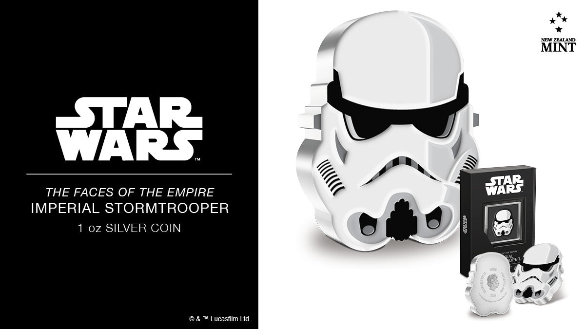This 1oz pure silver collectible Faces of the Empire™ coin not only follows the shape of Imperial Stormtrooper's intimidating helmet, but it also incorporates additional relief to give it a more 3D feel.