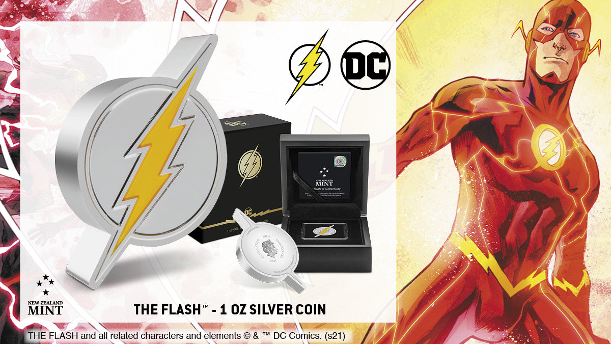 This 1oz silver collectible coin celebrates the Scarlet Speedster, THE FLASH™. The coin has been shaped and engraved with a bolt of lightning for THE FLASH. Yellow enamel makes it pop, while the mirror finish on the shield ensures it shines!