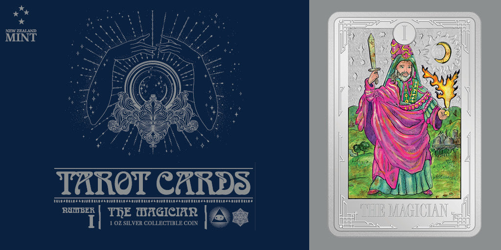 Abracadabra! Card number One, The Magician, features on the second release in our exciting new Tarot Cards Coin Collection struck in 1oz pure silver. Available from NZ Mint now!