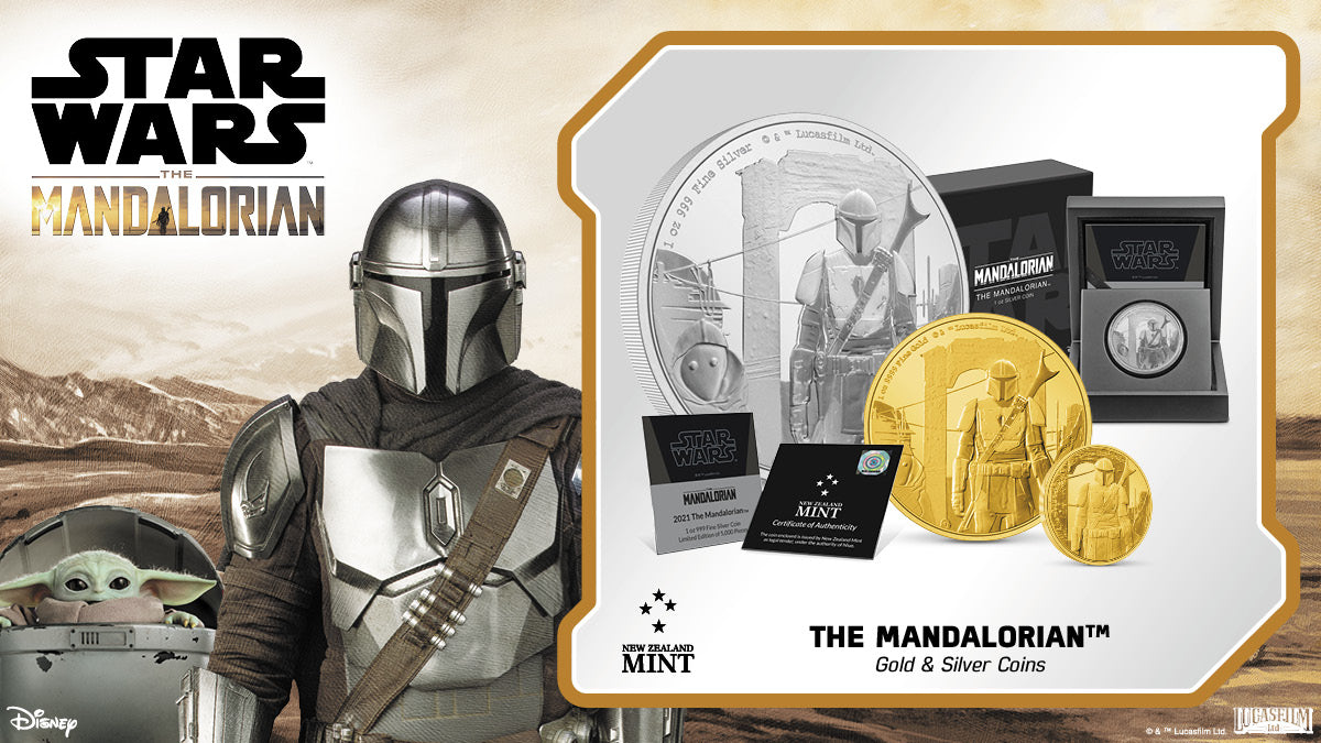 This first release of beautifully engraved gold and silver collectible coins features the series namesake, The Mandalorian™. Known to a few as Din Djarin™, The Mandalorian is a battle-worn bounty hunter, making his way through the dangerous galaxy.