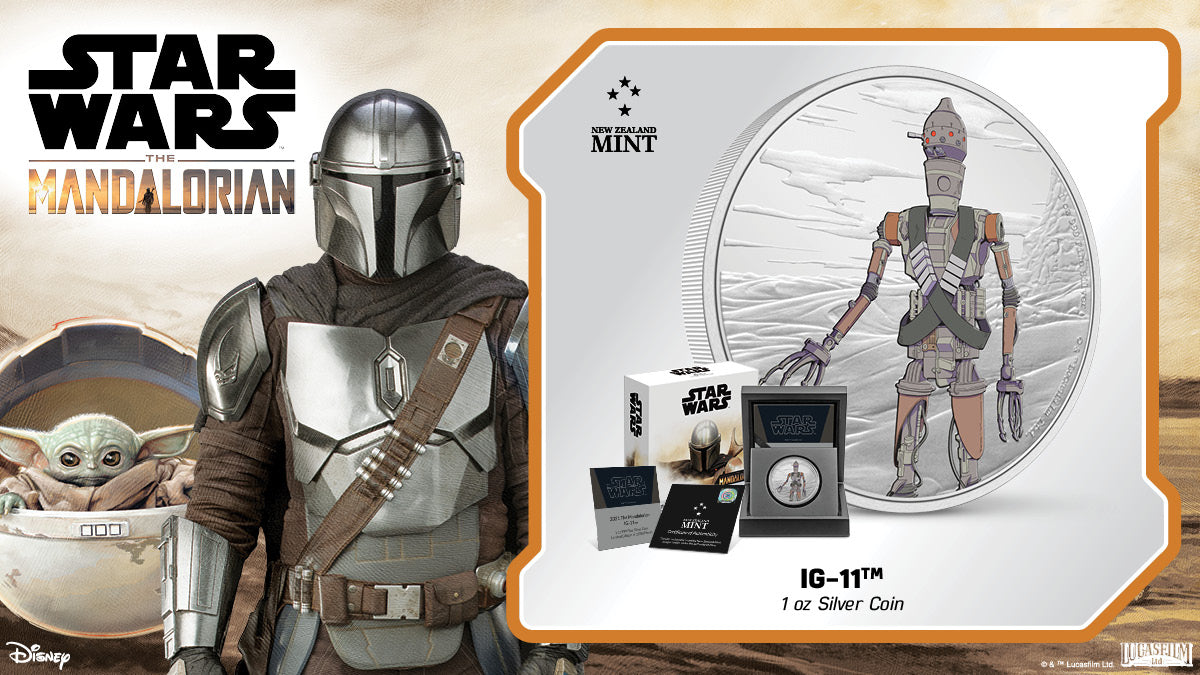 Disney+ serDisney+ series The Mandalorian™ introduced us to a new assassin droid, IG-11™. This officially licensed pure silver collectible coin features this reliable and durable droid in colour against an engraved landscape. ies The Mandalorian™ introduced us to a new assassin droid, IG-11™. This officially licensed pure silver collectible coin features this reliable and durable droid in colour against an engraved landscape.