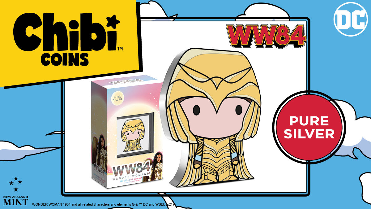 This officially licensed coin heroes WONDER WOMAN™ as she appeared in the movie WONDER WOMAN™ 1984 but in a Chibi art style! Made from 1oz of pure silver, this collectible coin has been shaped and coloured to resemble WONDER WOMAN in her Golden Armor.