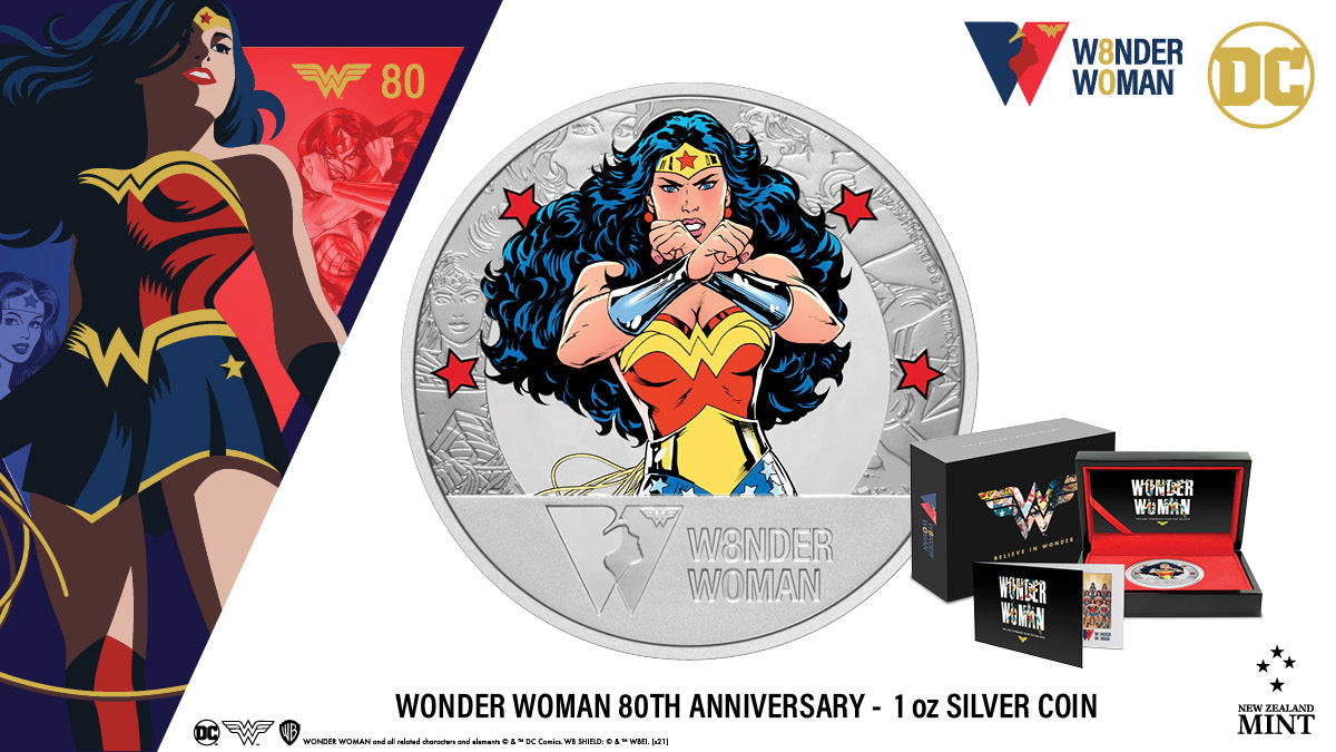 Celebrate the 80th anniversary of WONDER WOMAN™ with this stunning silver collectible. The unique, large-format 50mm silver coin allows room for coloured and engraved images of WONDER WOMAN through the ages as well as the official 80th Anniversary logo.