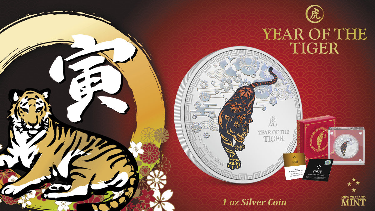 This 1oz silver coin features a decorative, coloured tiger in a traditional powerful stance, softened by iridescent motifs glowing with the colourful quality of a rainbow. This is offset by a stunning mirror finish fitting the Year of the Tiger.