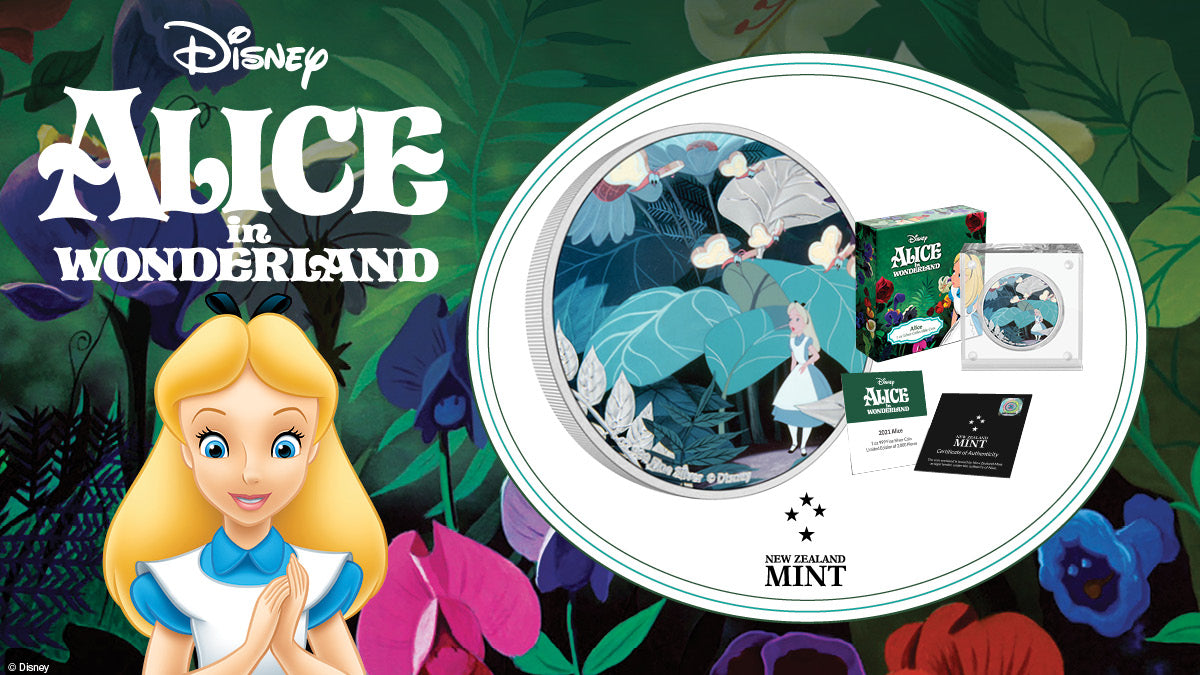 This 1oz pure silver coin features a coloured image from the movie of the peculiar world of Wonderland. It shows a shrunken Alice walking amongst the Bread-and-Butterflies - which are butterflies with wings of bread spread with butter!
