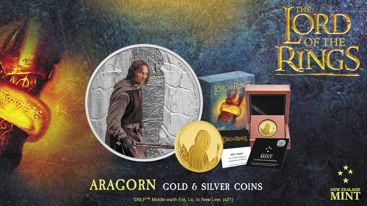 Brave leader Aragorn is the fourth character to appear in our THE LORD OF THE RINGS™ Classic Coin Collection. He dominates these striking 1oz silver and ¼ oz gold collectible coins.