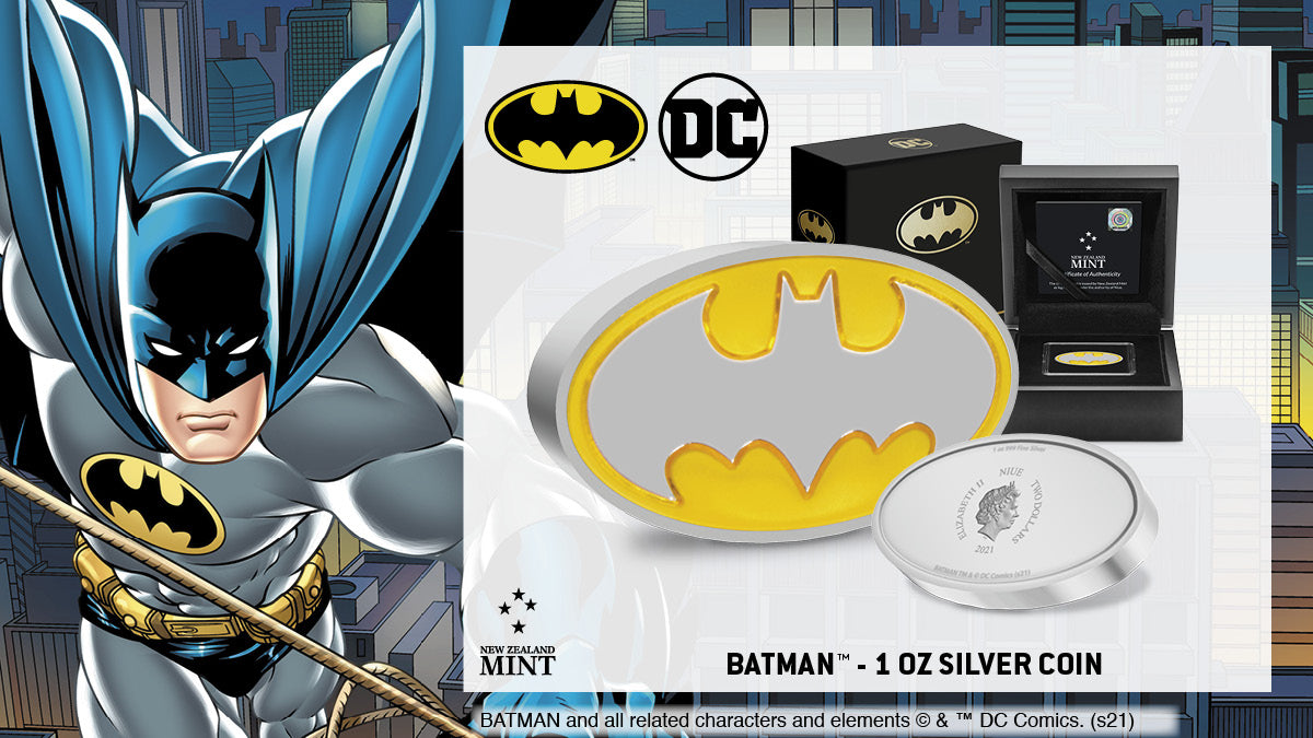 The BATMAN™ logo has persisted for over 30 years, marking the longest run for any single logo in the BATMAN saga. Now available as a 1oz pure silver collectible coin and nestled inside a high-quality, black coin case. A must for any BATMAN fan!