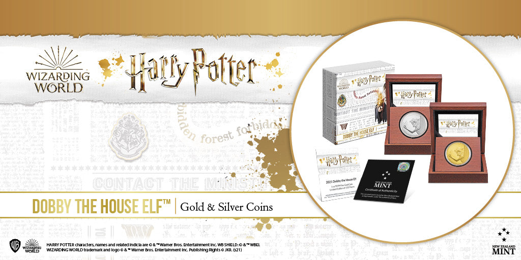 These finely engraved 1oz silver, 1oz gold and ¼oz collectible gold coins feature loyal friend to Harry Potter, Dobby the House Elf. The coins show the delightful Dobby using his magic to apparate in Harry Potter and Chamber of Secrets™.