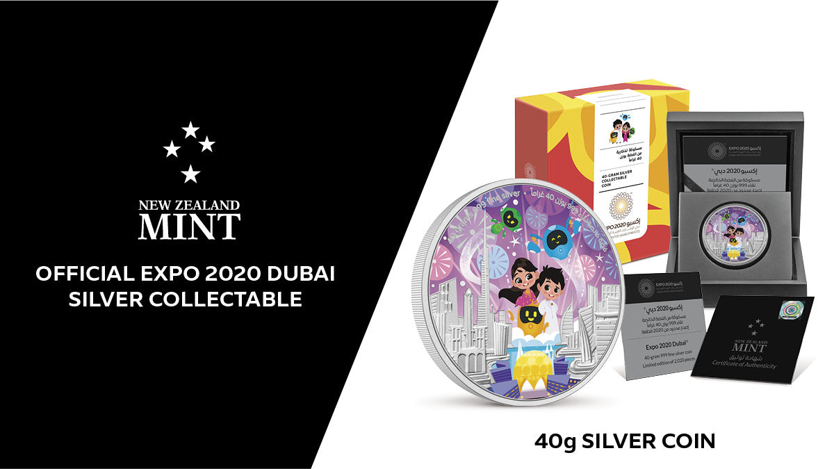 Commemorate Expo 2020 Dubai with a 40g pure silver collectable coin featuring the Expo's mascots Rashid, Latifa and super robot guardians, Opti, Alif and Terra. This unique collectable features a coloured and engraved image of the mascots celebrating.