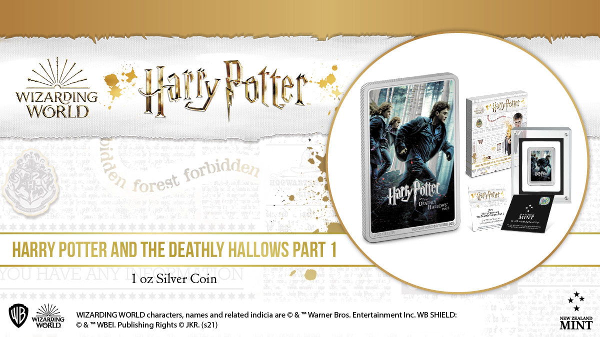 The penultimate 1oz pure silver coin in our HARRY POTTER™ Movie Poster Coin Collection is released today. Celebrating the seventh film in the series, this coin for Harry Potter and the Deathly Hallows Part 1™ features Harry, Ron, and Hermione.