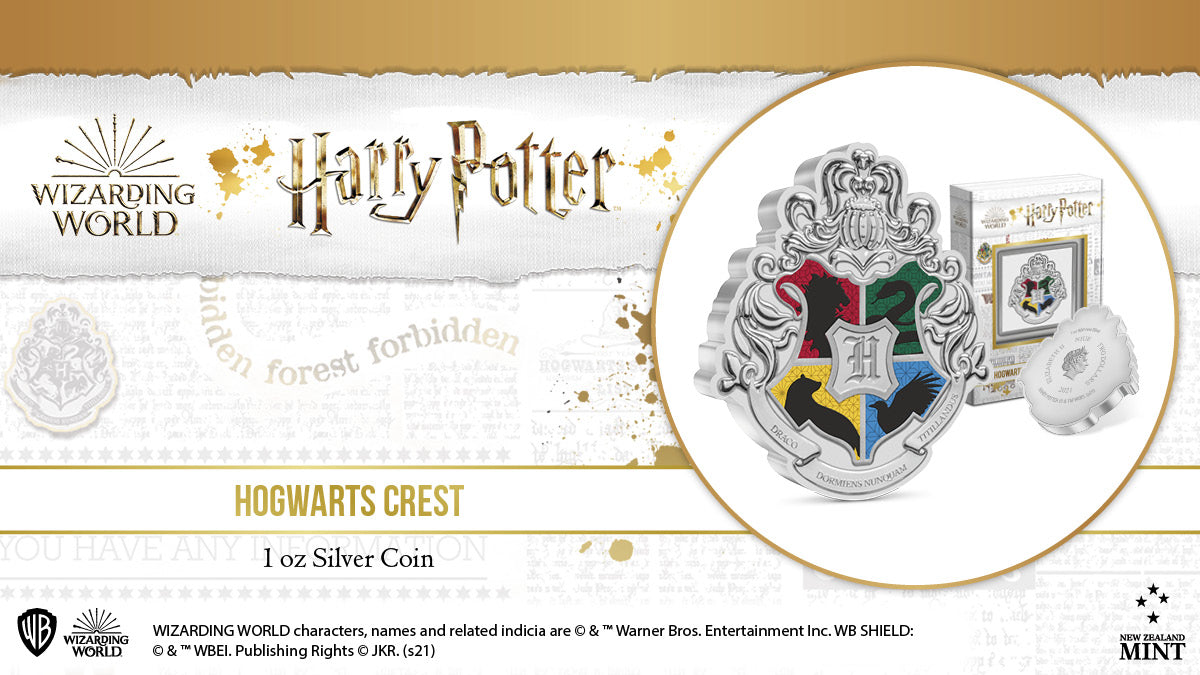 Today we are excited to reveal a new 1oz pure silver collectible coin featuring the Hogwarts Crest. A scroll engraved at the bottom features the Hogwarts motto 'Draco dormiens nunquam titillandus' which translates to 'Never tickle a sleeping dragon'.