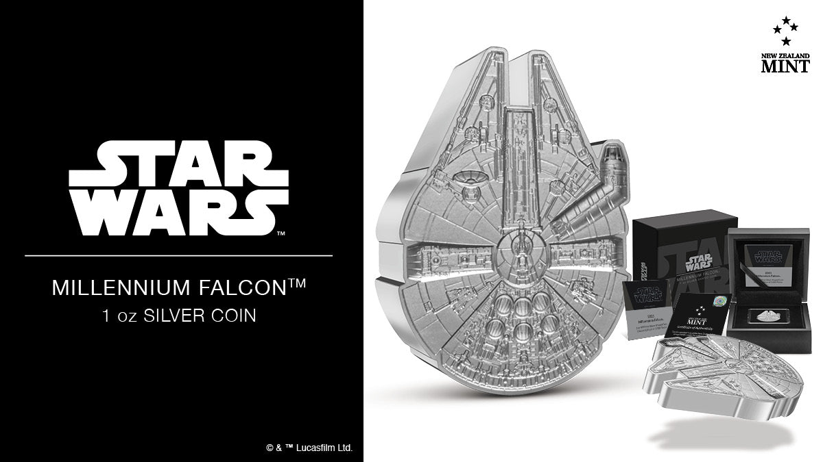 This Millennium Falcon 1oz Silver Collectible Coin is presented inside a black coin case and nestled in black velvet. The case is protected by a Star Wars-themed box confirming the prize inside. A magnificent keepsake for any Star Wars collector.