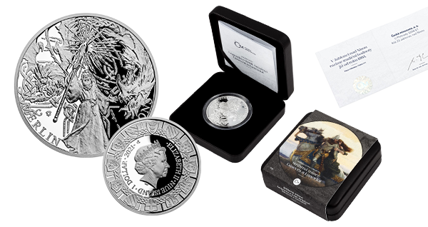 Designed by medal maker Asamat Baltaev, DiS., this 1oz silver coin shows Merlin in full glory! The dignified wizard wields a magic staff, while the two dragons symbolize the conflict between the Celts and the Saxons behind him in the background.