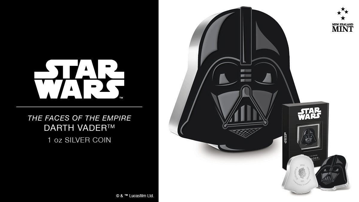 """This first 1oz silver coin from our new Faces of the Empire collection replicates one of the most recognisable """"faces"""", iconic villain Darth Vader™ - a terrifying union of man and machine hidden beneath black robes, forbidding armour and helmet."""