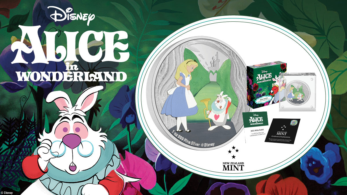 This delightful 1oz pure silver coin by NZ Mint shows a coloured image of Alice with the White Rabbit at the entrance to the Queen of Hearts' maze. This is offset by a dazzling touch of frosted engraving and background mirror finish.