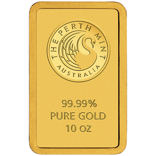10oz Gold Minted Bar Perth Mint