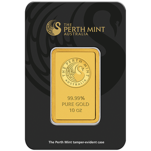 10oz Gold Minted Bar Perth Mint in tamperproof packaging