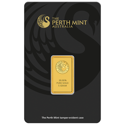 5g Gold Minted Bar Perth Mint package front