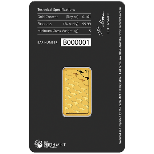 5g Gold Minted Bar Perth Mint package reverse