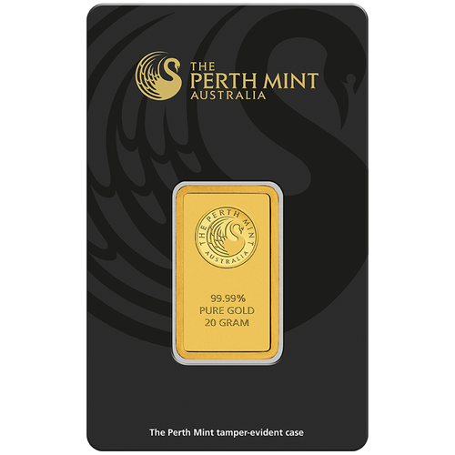 20g Gold Minted Bar Perth Mint in tamperproof packaging