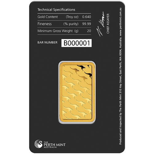 20g Gold Minted Bar Perth Mint in tamperproof packaging (reverse)