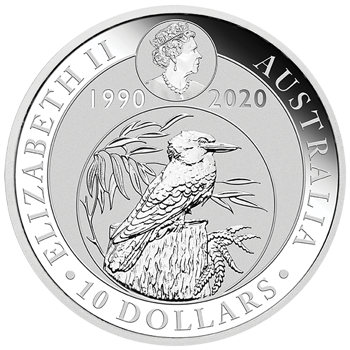 10oz Silver Bullion Coin featuring Kookaburra Perth Mint - $10 denomination