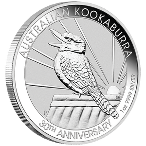 1oz Silver Bullion Coin featuring singing Kookaburra - 30th anniversary edition - Perth Mint