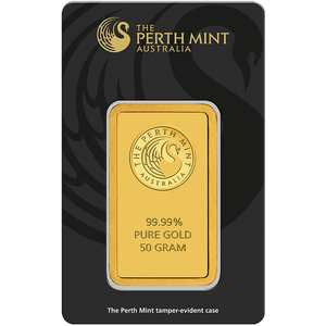 50g Gold Minted Bar Perth Mint in tamperproof packaging