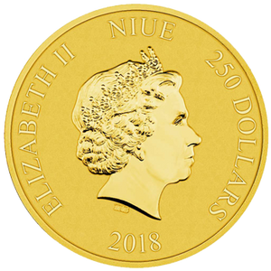 2018 1oz gold bullion coin featuring the Queen's effigy