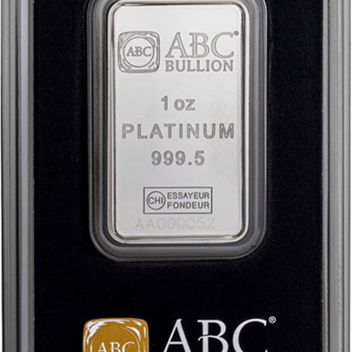 1oz Platinum Minted Bar ABC Packaging Front