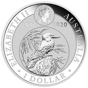 1oz Silver Bullion Coin featuring Kookaburra and small Queen's effigy - 1 dollar denomination - Perth Mint