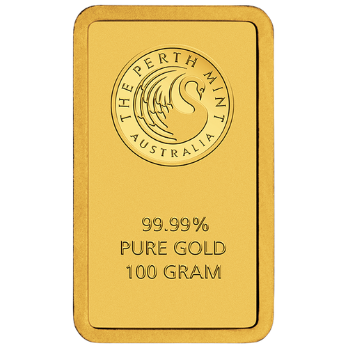100g Gold Minted Bar Perth Mint