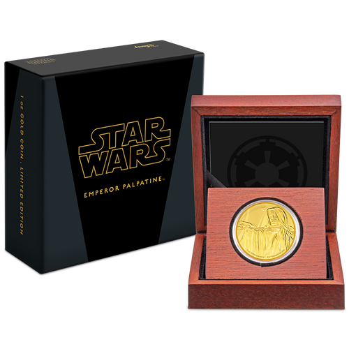 Star Wars Classic: Emperor Palpatine™ 1oz Gold Coin Packaging