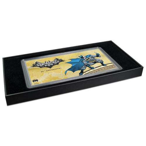 BATMAN's™ 80th Anniversary - 1g Gold Coin Note Packaging