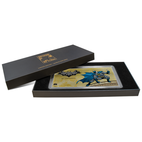 BATMAN's™ 80th Anniversary - 1g Gold Coin Note Box opened