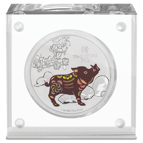 Lunar - Year of the Pig 2019 1oz Silver Coin Display