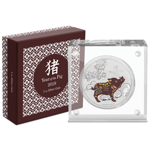Lunar - Year of the Pig 2019 1oz Silver Coin Packaging