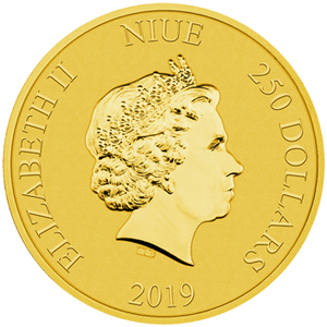 2019 1oz gold bullion coin featuring the Queen's effigy 250 dollar denomination