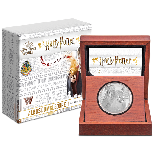 Albus Dumbledore 1oz Silver Coin Display Packaging