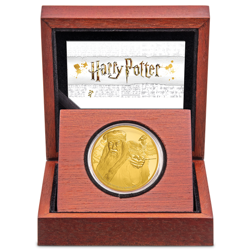 Albus Dumbledore 1oz Gold Coin in Display Box