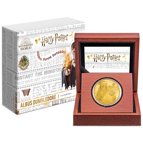 Albus Dumbledore 1oz Gold Coin in Display Packaging