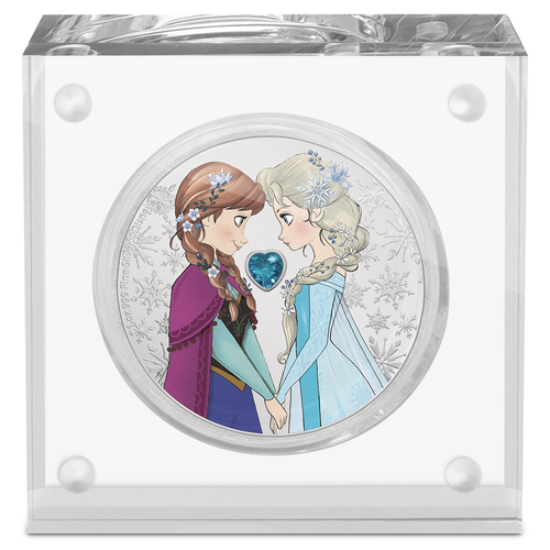 Disney Frozen – Sisters Forever 1oz Silver Coin in Perspex Magnetic Display Case