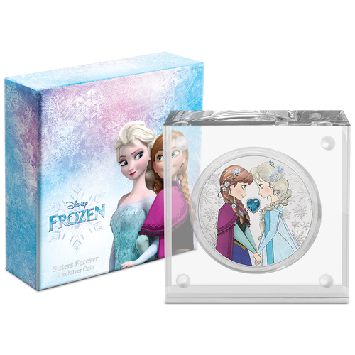 Disney Frozen – Sisters Forever 1oz Silver Coin in Display Packaging
