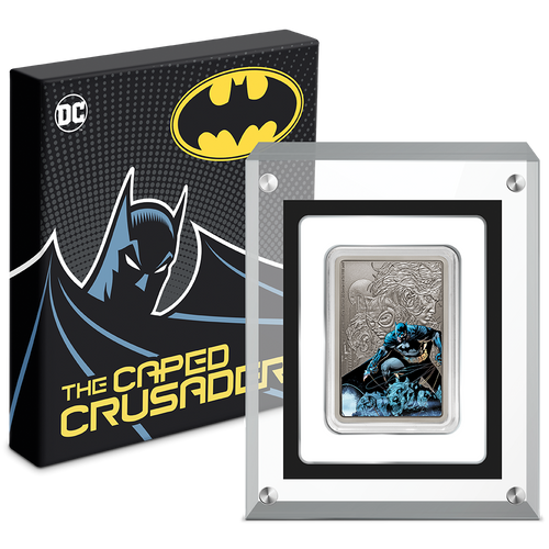 THE CAPED CRUSADER™ - BATMAN™ 1oz Silver Coin Packaging and Display Case