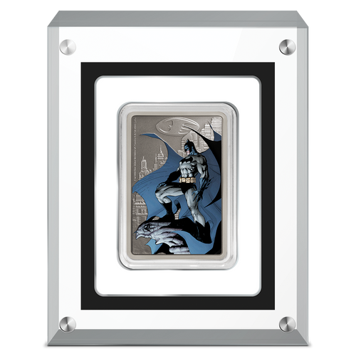 THE CAPED CRUSADER™ - GOTHAM CITY™ 1oz Silver Coin Display