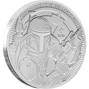 1oz Silver Bullion Coin Star Wars featuring Boba Fett™ image holding a blaster 2020