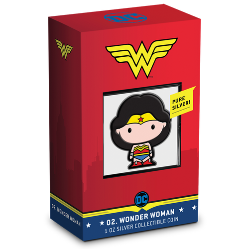 Chibi Coin Collection DC Comics Series – WONDER WOMAN™ 1oz Silver Coin Display Box Featuring Unique Identifying Number