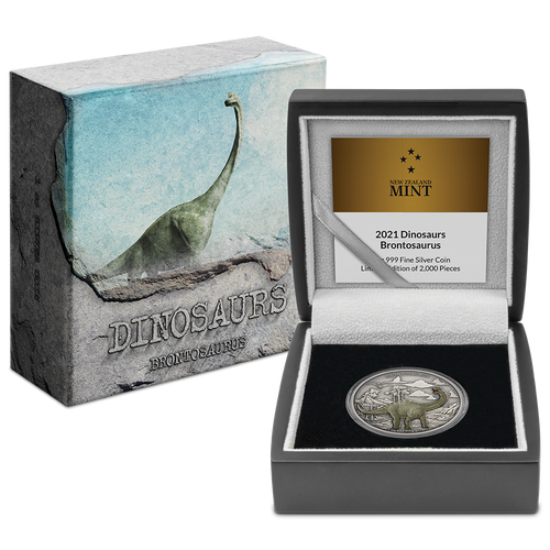 Dinosaurs – Brontosaurus 1oz Silver Coin Display Packaging