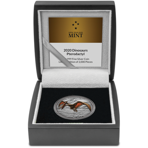 Dinosaurs – Pterodactyl 1oz Silver Coin in Display Packaging